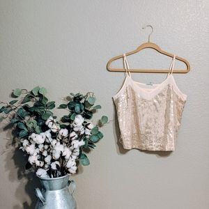 Charlotte Russe Gold Sequined Crop Tops